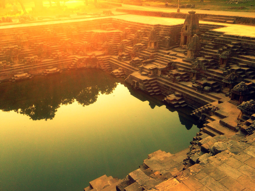 #modera #step well #morning #heritage #water #flare #blue #warmth #sun temple #photography #interesting
