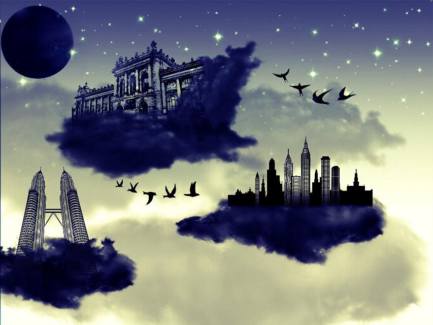 #floating  #city #fantasy #dreaming  #dreams  #clipart  #stars #birds