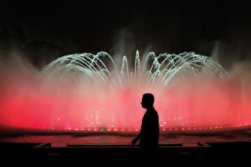 colorful park lima peru water