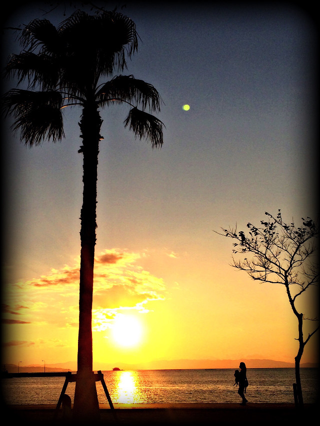 #sunset #sea #mother  #baby #walk