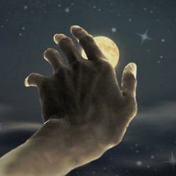 hand moon freetoedit edited