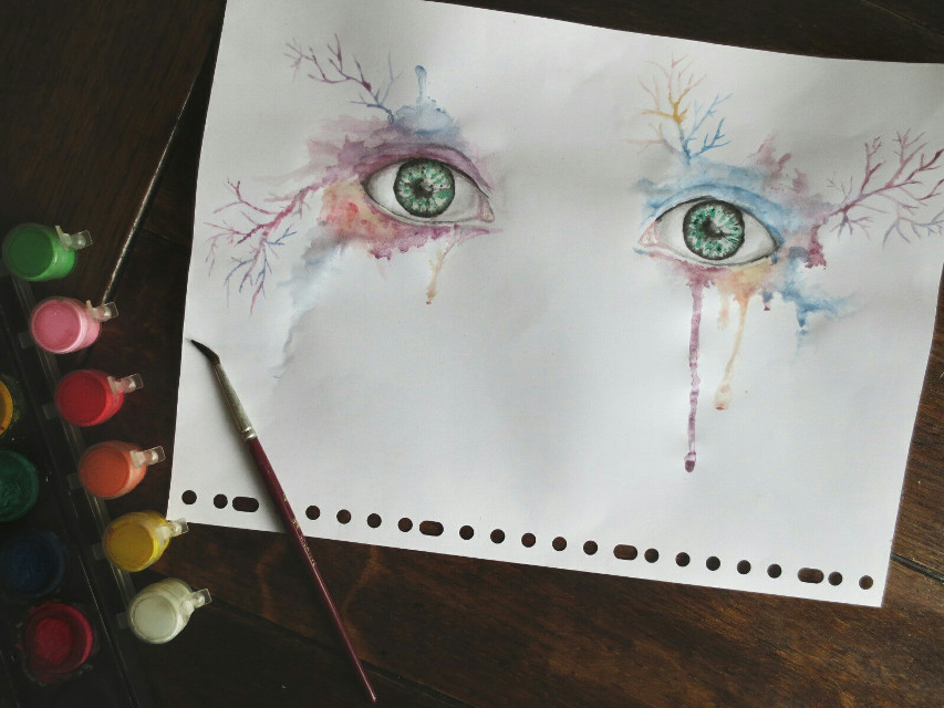 I don't paint that much, but when I do I enjoy it immensely.   #myart  #painting  #watercolor  #eyes  #tears  #photography  #colorful  #emotion
