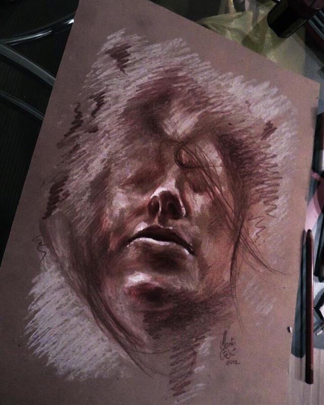 #woman #sketch #surreal #water #redpencil #dreamscape #martinfrlic
