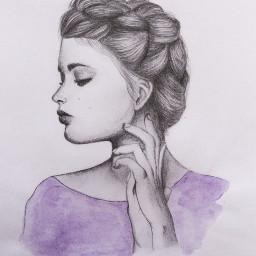 drawing art fashion pencilart purple portrait woman pencil watercolor
