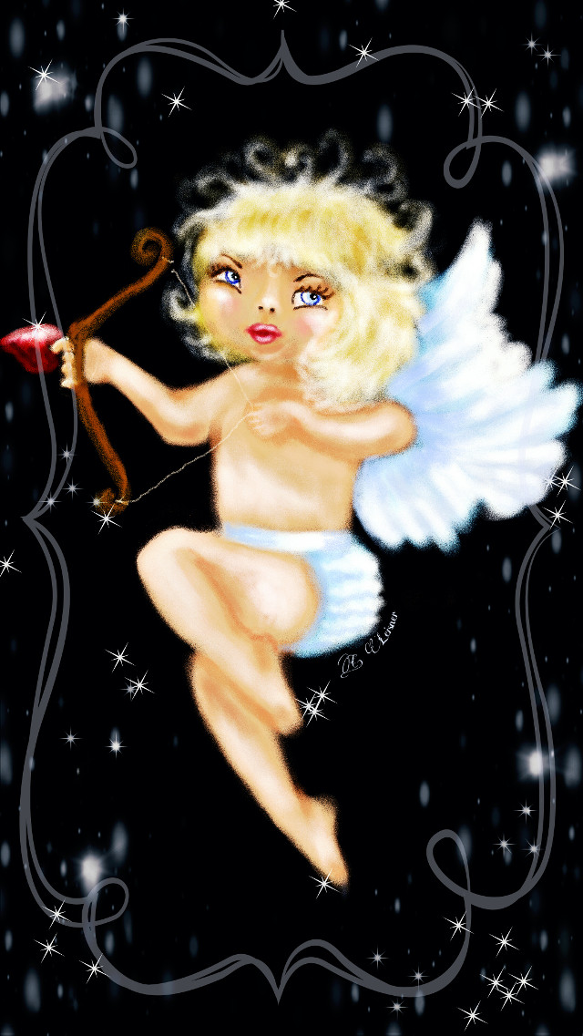Little cupid  (I forgot something can you find what I forgot?)... lol    #baby #colorful #cute #emotions #love #people #retro #vintage #drawing #art #artistic #hearts #border #valentinesday #seasons #winter #holiday
