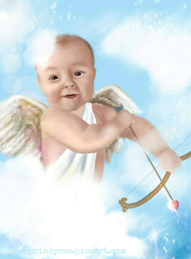 #WDPcupid ( 99% using draw tool + #mask #lensflare) No effects used. Idea my own. If you like my drawing do Vote for it. Your likes, comments, reposts appreciated. #digitaldrawing #drawing #art #cupid #baby #love #wings #arrow #sky