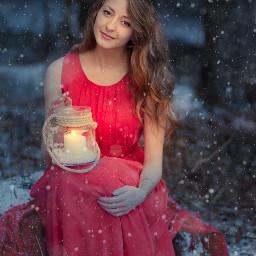 winter nature love magic photo girl