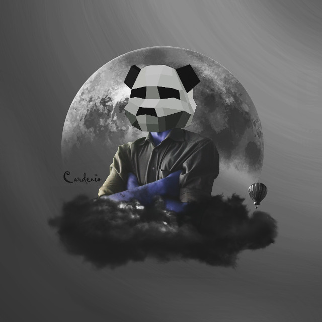 """I'm a blue panda"" 🐼  Happy Sunday for all!!   #surreal #artisticselfie #blue"