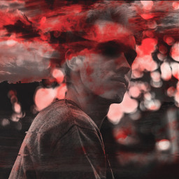 red doublexposure graphic guy clouds