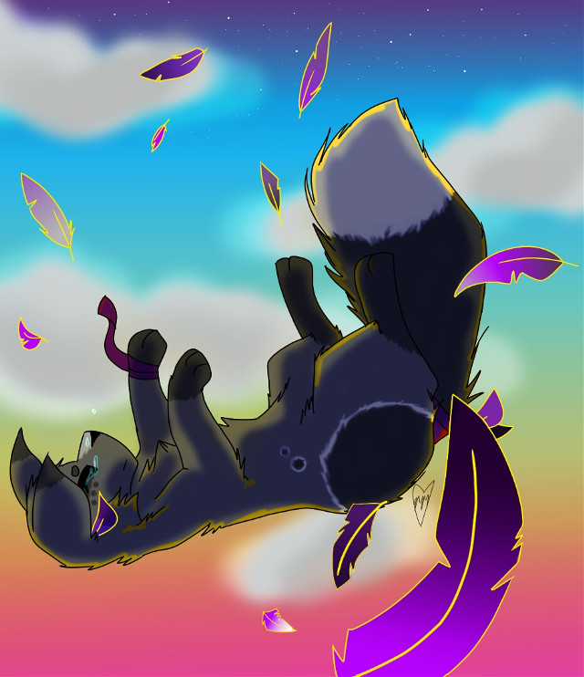 I'm really proud of this! :D I really like how it came out aaa. She's fallen. And she can't get up. Sorry. This took hours D: I seriously experimented big time omg. I was gonna do line less but meh.    #fall  #sky  #sunset  #cat  #feathers