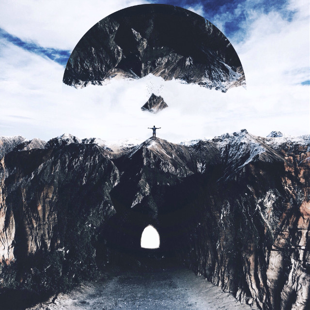 Rise to new heights.   (Original Photo: unsplash)  #mountain #falling #doubleexposure #surreal #surrealism #tunnel #people   (Photography Account: @shaylinwallace )