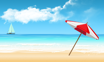 beach summer illustration landscape love