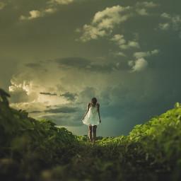 freetoedit nature girl green grass