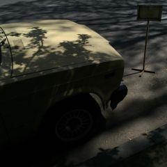 interesting art shadow tree car