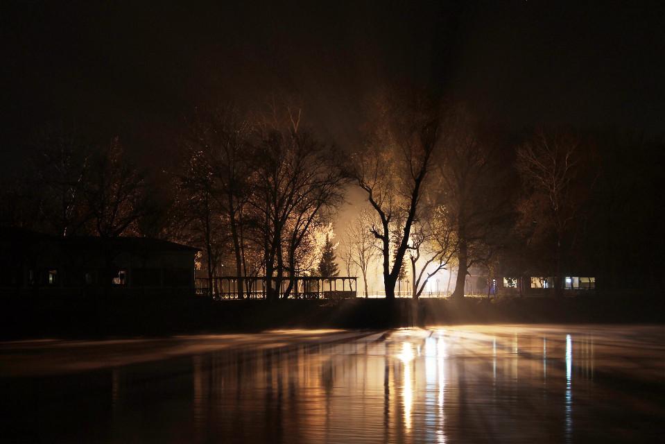 #meriç #river #reflection  #night #edirne #trees