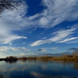 reflection river clouds sky yans