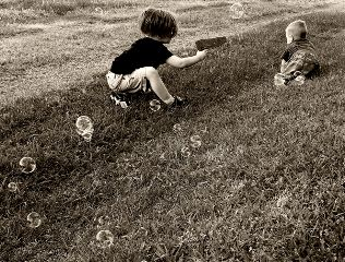 brothers kids waterguns bubbles cute