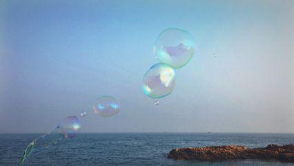 freetoedit bubbles beach sky sea