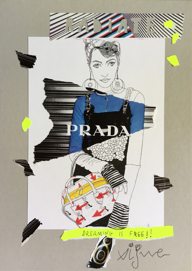 Prada collage, because dreaming is free! By Rocio Vigne